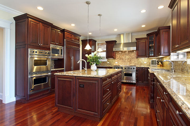 how to pair countertop colors with dark cabinets rh blog kitchenmagic com Kitchen Recycled Glass Countertops Antique Kitchen Cabinets with White Countertops