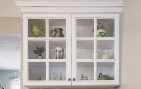White Kitchen Display Cabinet with Glass Window Front