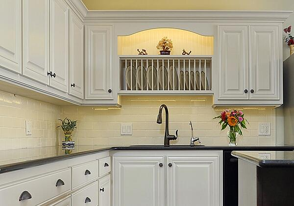 White Kitchen with Dishware Display Rack