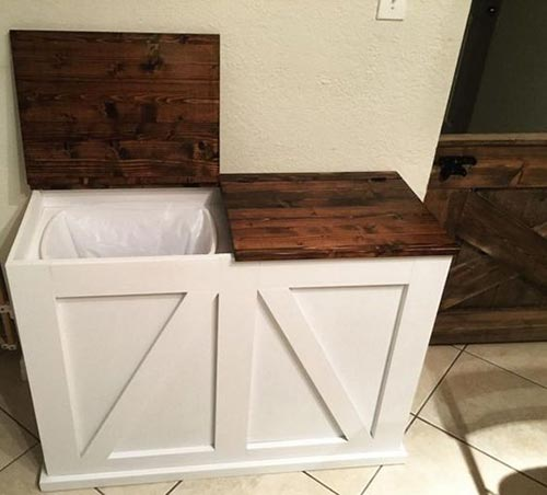 Lift-Top Kitchen Trash Cabinet