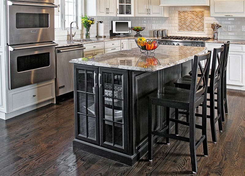 Kitchen with Glass-Front Base Cabinets