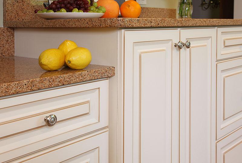 White Kitchen Cabinets with Brown Glaze
