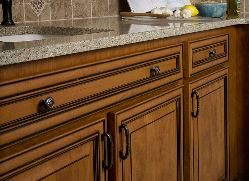 Kitchen with Glazed Wood Cabinets