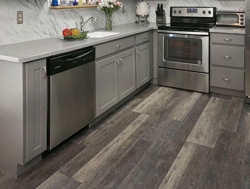 rustic hardwood kitchen floor