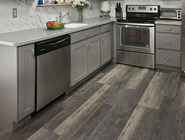 rustic hardwood kitchen floor