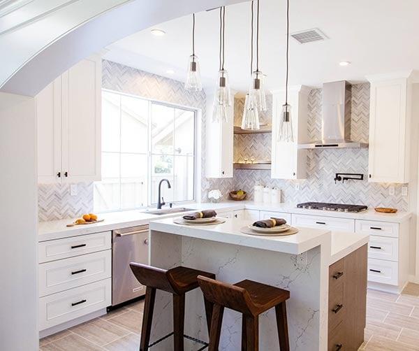 monochromatic herringbone kitchen design