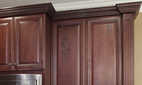Dark Wood Kitchen Cabinet with Egg and Dart Crown Molding