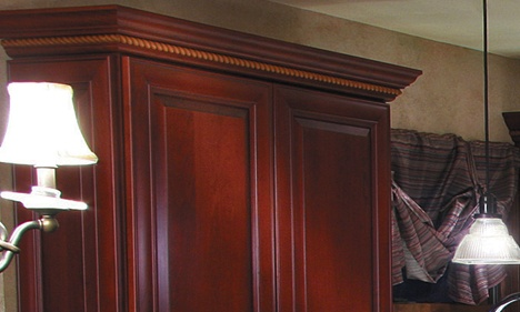 Dark Cherry Kitchen Cabinet with Rope Crown Molding