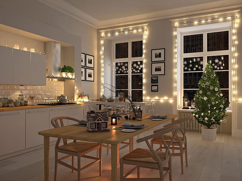 Modern Kitchen Decorated for Holidays