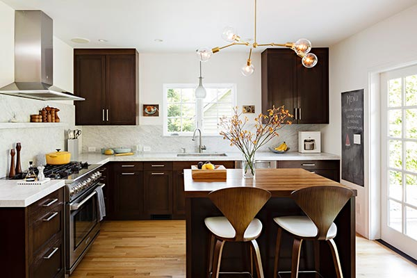 Stylish Kitchen with Brass Pendant