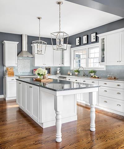 transitional kitchen refaced in white shaker cabinets