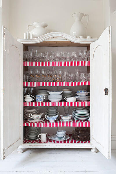 Pantry Shelves with Shelf Liner