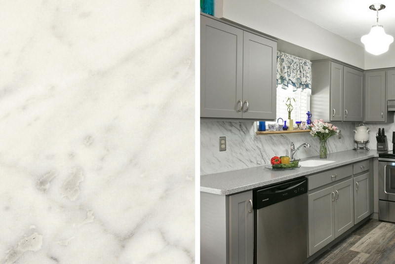 Formica Backsplash in Carrara Bianco