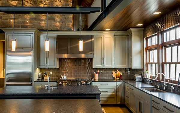 metallic industrial kitchen