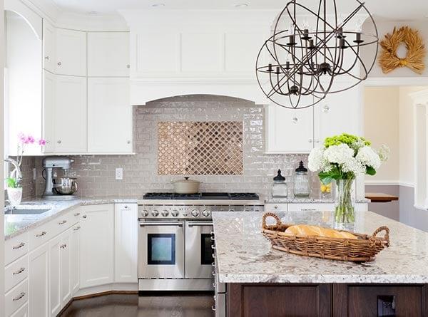 metallic kitchen backsplash