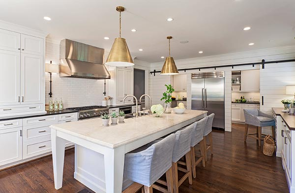 Farmhouse Kitchen with Brass Pendants