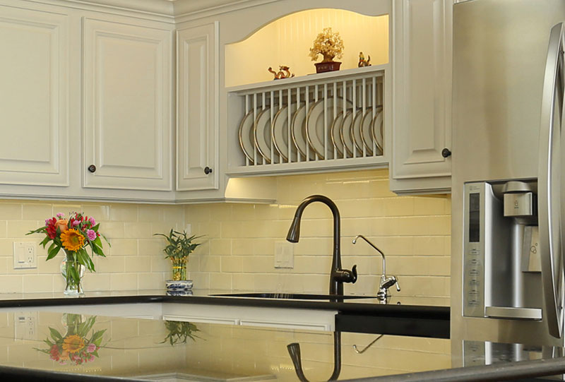 White Kitchen with Oil Rubbed Bronze Moen Faucet