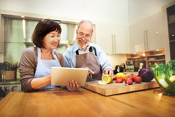 couple enjoying an efficient, less crowded kitchen