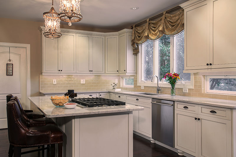 Traditional Kitchen with White Cabinets