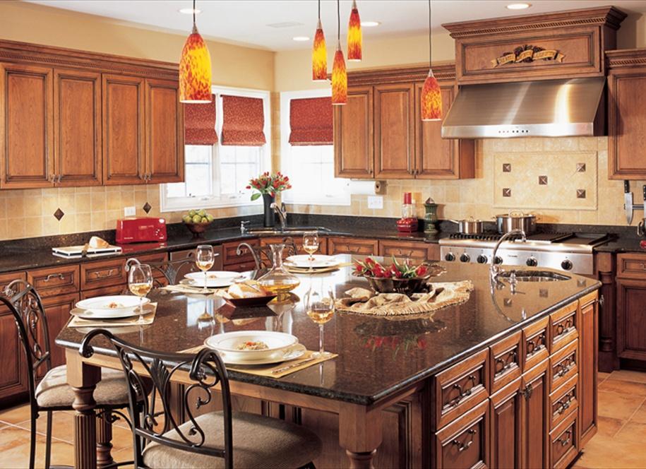 Dark Wood Kitchen Cabinets with Cambria Quartz Countertop