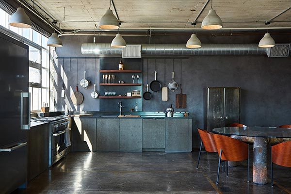 open floor industrial kitchen