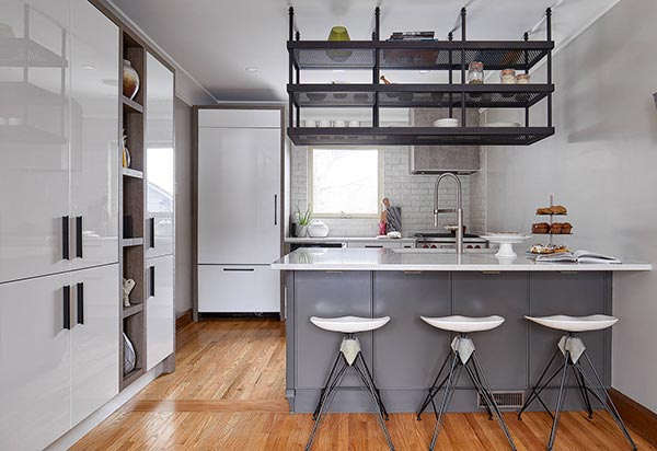 open shelving industrial kitchen