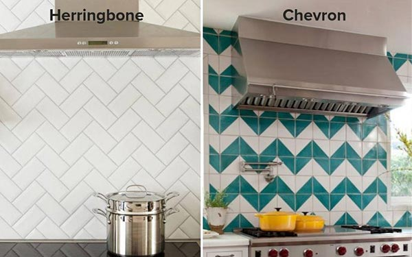 herringbone and chevron backsplash pattern