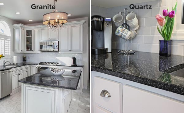quartz and granite kitchen countertops