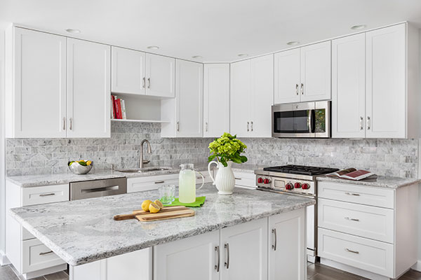 Refaced White Kitchen Cabinets