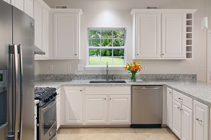 White Refaced Cabinet Kitchen Remodel