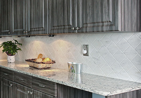 Routed Corian Sheet Backsplash