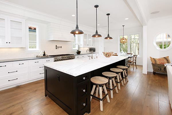 three pendant lights in kitchen