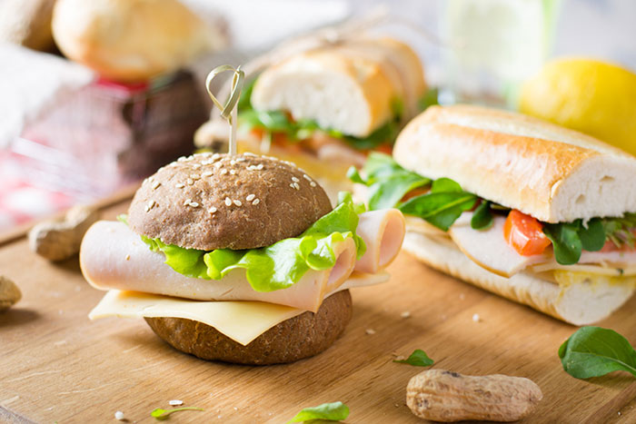 Sandwiches on a Wooden Cutting Board