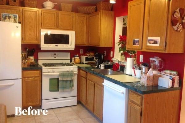 Oak Cabinet Kitchen Before Photo