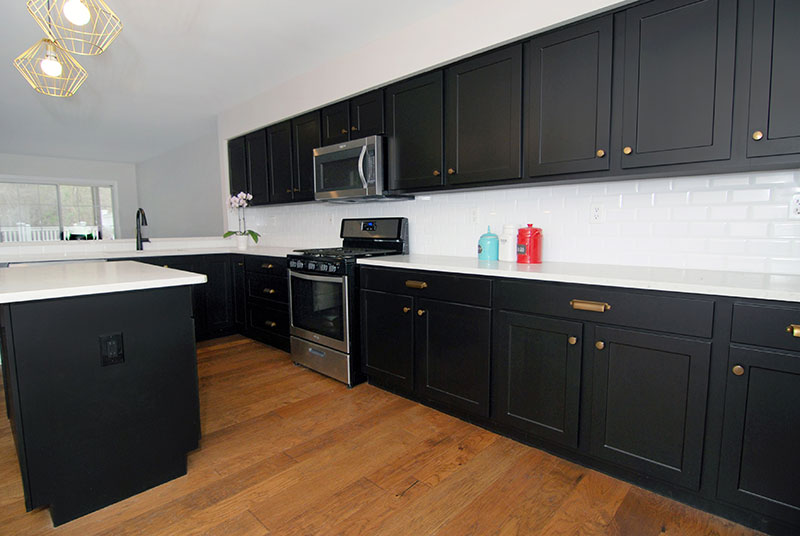 Kitchen with Black Shaker Cabinets