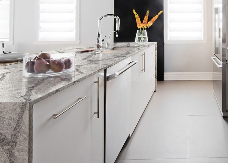 Waterfall Edge Quartz Countertop