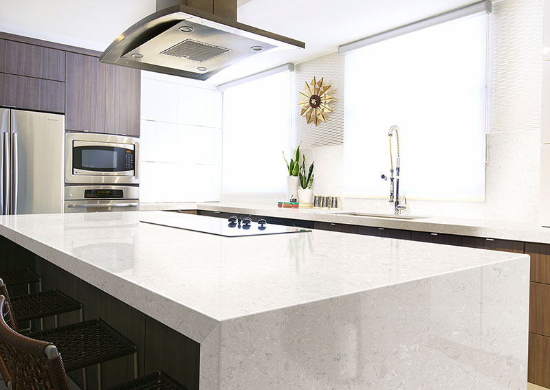Quartz Waterfall Kitchen Countertop