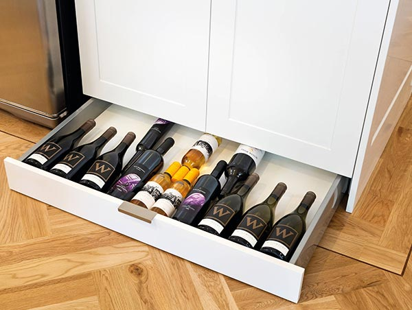 toe kick kitchen wine storage