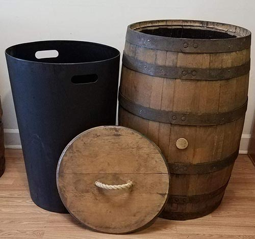 Whiskey Barrel Kitchen Trash Container