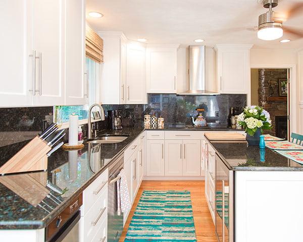 White Kitchen with Blue Pearl Granite Countertops