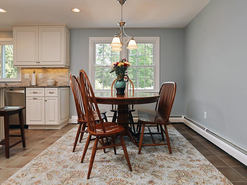 White Cabinets with Blue Kitchen Walls