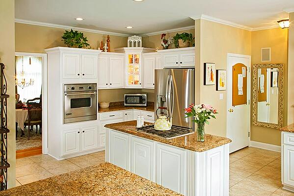 Yellow Kitchen Walls And White Cabinets
