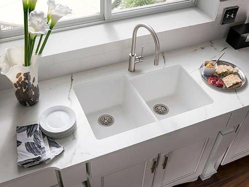 white quartz kitchen sink