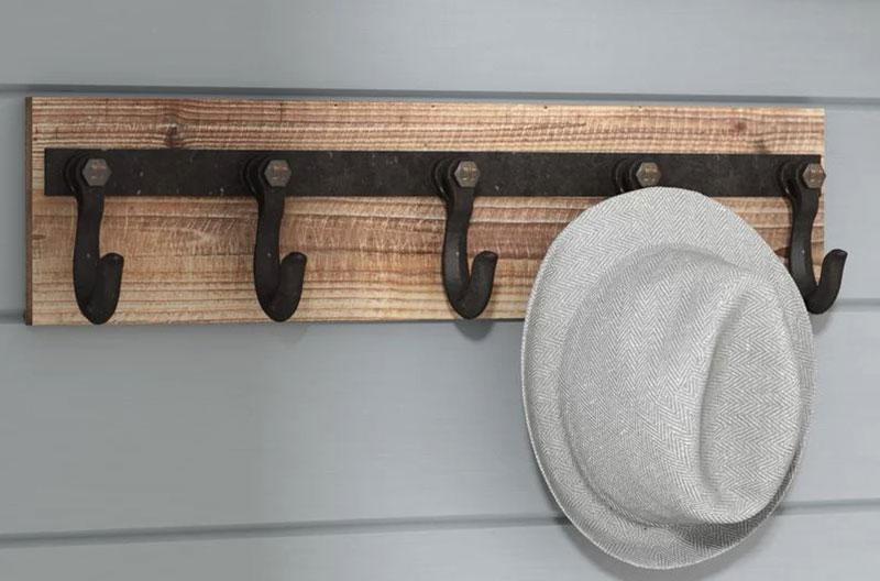 Wooden Wall Mount Hook Rack