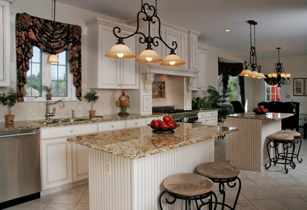 White Kitchen with Cascade Valence Window Curtains
