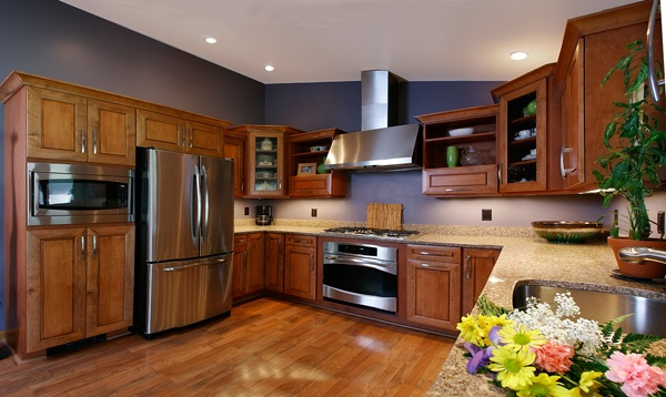 Navy Blue Kitchen with Natural Wood Cabinets