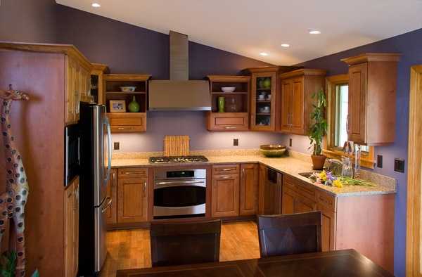 Maple Cabinet Kitchen with Purple Wall Color