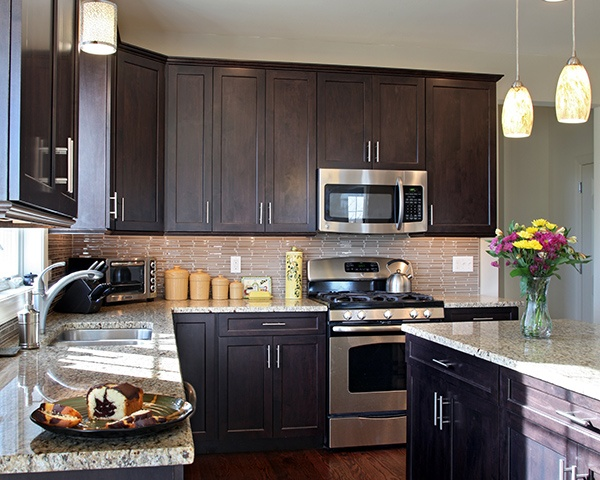 Dark Wood Cabinets in Shaker Style