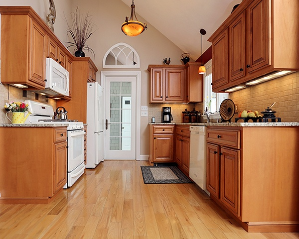 Wood Cabinets with Under-Lighting