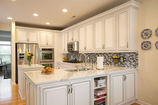 kitchen with white laminate cabinets